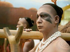 wax-like figures of Native Americans