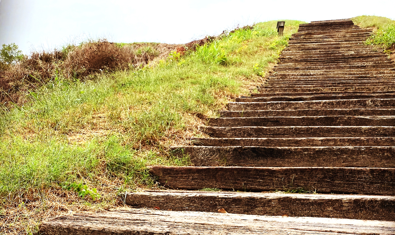 steps leading up to the top of a mound
