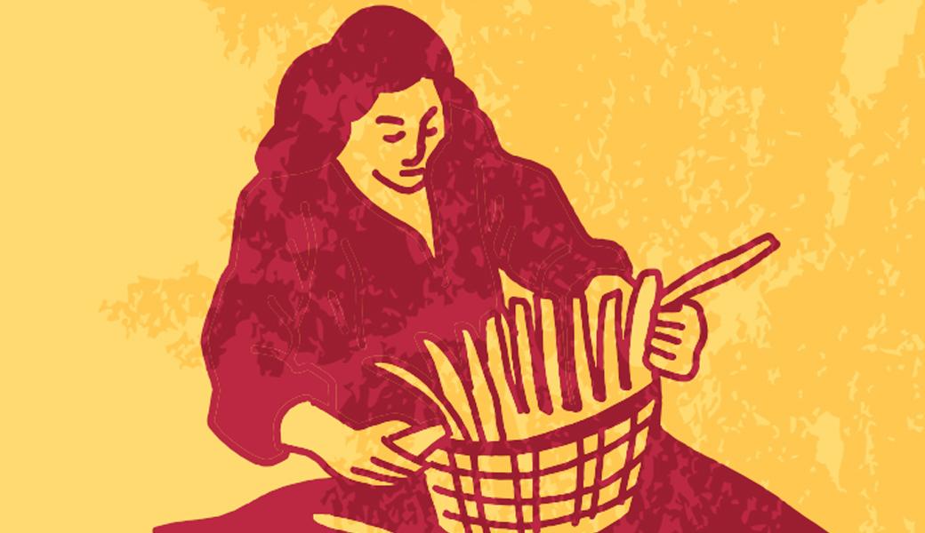 illustration of a Native American basket weaver